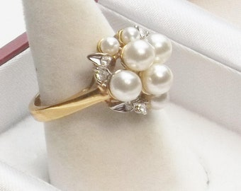 Vintage 1970's Taiwan Ring Faux Simulated Faux Pearls Rhinestone Gold Tone Costume Jewelry Size 6 Gift For Her on Etsy