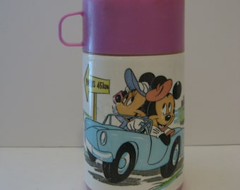 Mickey Mouse  &  Minnie Mouse Thermos 1980's Walt Disney