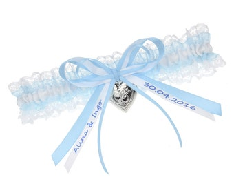 Bridal Garter lace with locket and personalised bow