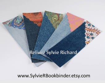 Set of 5 bookmarks made of recycled jeans and decorated papers #1 - Page markers in jeans and papers - original bookmarks