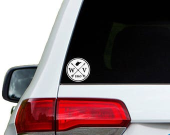 West Virginia Arrow Year Car Window Decal Sticker