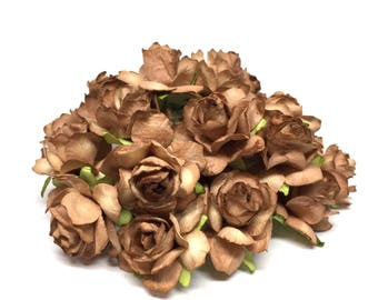 Two Tone Brown Classic Mulberry Paper Roses Cr015