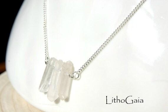 Crystal Point Bar Necklace on 925 Sterling Silver, Raw Crystal Gemstone, Raw Quartz Jewelry, Gift for Her, Quartz Gemstone bar, Zodiac