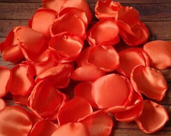 Orange rose petals, rose petals, orange wedding, orange party decor, scatter petals, satin rose petals, wedding petals, table decorations.
