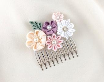 Flower wedding hairpiece, statement hair comb, flower bridal head pieces, flower hair comb for bride, bridesmaid decorative hair comb