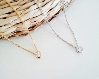 Solitaire cubic zirconia necklace, tiny necklace, gold necklace, gift jewelry