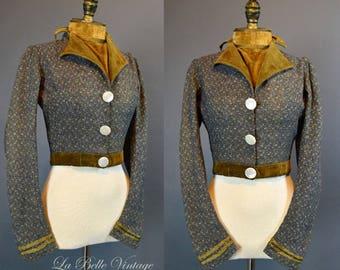 Antique Victorian Wool Tweed Jacket XS Gold Velvet Jabot ~ Bullion Trim