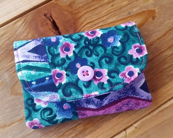 Floral Wallet, Plum  Business Card Holder, Small Fabric Billfold, Pocket Wallet, Ladies Wallet, Small Wallet, Business Card Case
