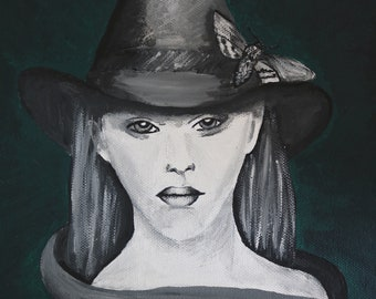 Acrylic painting hand painted original canvas art witch graphic Witchcraft Black