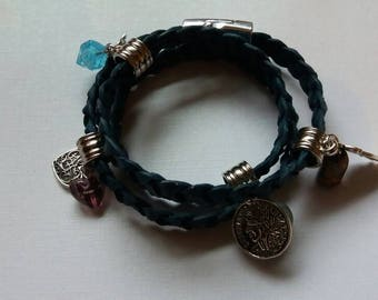 Navy, leather braided wrap bracelet.