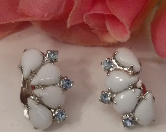 Milk Glass Earrings, Clip On, Teardrop Shape Stones, Blue Rhinestone, Elegant Milk Glass Earrings