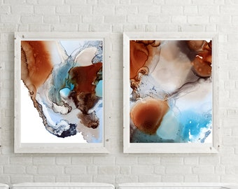 Abstract organic art prints set, set of 2 fine art prints, brown and blue watercolor painting art, modern organic abstract wall prints set