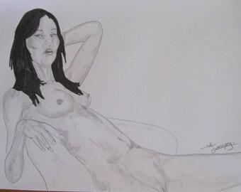 "nude pencil drawing female erotic ""5491 fine art A4"