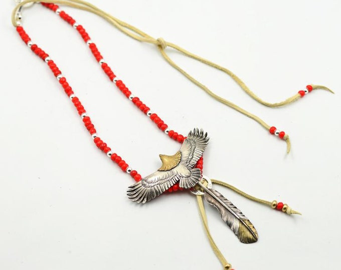 Silver Eagle Necklace | Native American Inspired | Oxidized Silver Necklace | Czech Glass Beads | Gold Silver Eagle Charm | Tribal Necklace