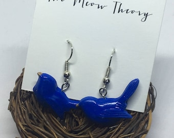 blue jay bird polymer clay hanging earrings