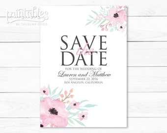 Printable Save the Date Rustic Flowers, Boho Save the Date Cards, Floral Save the Date Template, White Save the Date DIY, Blush Pink Flowers
