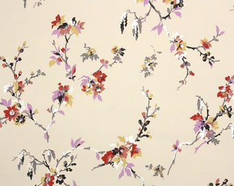 1950s Vintage Wallpaper by the Yard - Floral Wallpaper with Purple Pink Red Yellow Asian Floral Branches on Beige