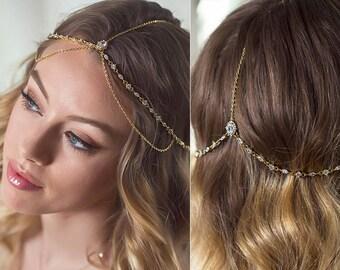 Bridal Gold Headpiece, wedding hair accessory, bohemian wedding hair accessories, Wedding Accessories, Wedding Jewelry, Bridal Hair, H066G
