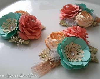 Corsages - Paper Flowers - Weddings - Salmon - Sea Foam - Bridal Shower - Baby Shower - Boutonniere - Set of 6 - Any Color - Made To Order