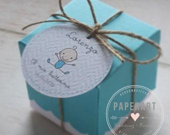 10 composizioni porta confetti (scatolina + tag + spago)