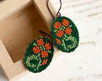 Flower earrings, dangle earrings with floral embroidery e018