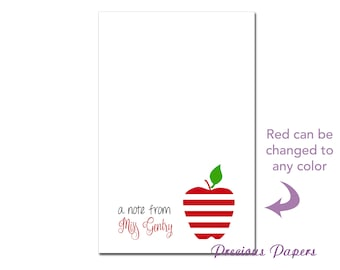 Personalized Teacher note pads Personalized teacher gift Personalized teacher red striped apple notepad apple note pad