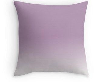 Purple Pillow Lavender Herb Ombre Violet Pastel Pillow Cover Gradient Cushion Pantone 16x16, 18x18, 20x20 Square