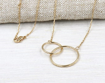 women gold plated interlocking rings necklace