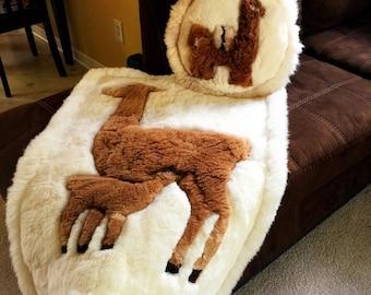 Alpaca rug & throw pillow set, Super Soft! 100% real fur floor rug - Handmade Llama fur home decor pillow and rug from Ecuador