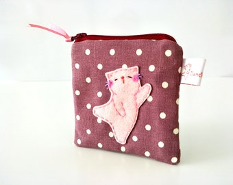 Polka dot purse, cute change purse, coin purse, cat coin purse, cotton pouch, coin purse wallet, cat purse, dancing purse, cute wallet