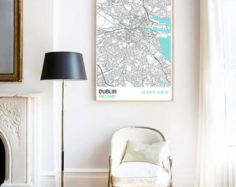 Dublin City Map Print, Scandinavian Style Map Print, Custom Map Print, Housewarming, Graduation Gift, Map Print, Street Map, Wall Art