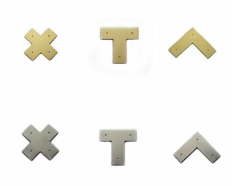 Campaign Furniture Brackets - X, L and T - Polished Brass or Chrome