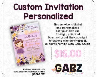 Custom Invitation Personalized, Non-Exclusive, Special Order, GABZ, Not applicable with discount coupons.