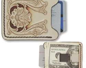 Genuine leather wallet with money clip kit - diy - make your own wallet - craft project - easy