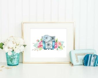 Camera Print - Watercolor Camera - Camera Wedding Print - Photography Print- Watercolor Cameras with Flowers - Download - PRINTABLE 8x10