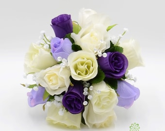 Artificial Wedding Flowers, Purple, Lilac & Ivory Bridesmaids Bouquet Posy