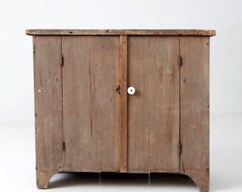 antique primitive cupboard, rustic wooden small cabinet
