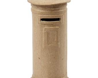 Mail Box Money Box - Small Plain Papier Mache Post Letter Box - Paint Craft Decorate Display
