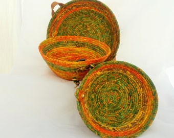Set of Three Green and Orange Baskets