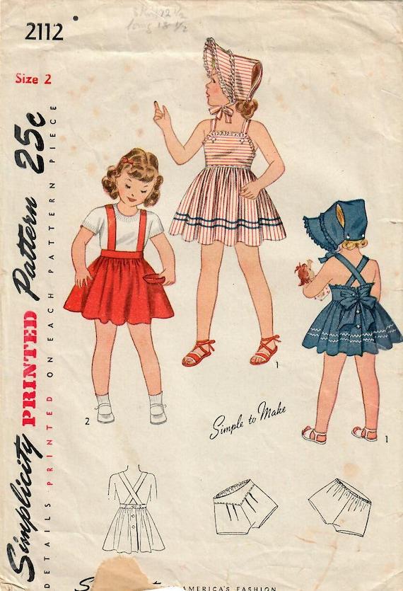 1940er Jahre Einfachheit 2112 Vintage Schnittmuster Kleinkind