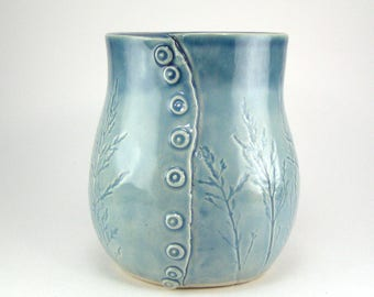 Small Blue Vase, Kitchen Utensil Holder, Button Vase, Blue Pencil Holder, HandBuilt Vessel, Grass Imprinted Vase, Ceramic Vessel 06-17-08