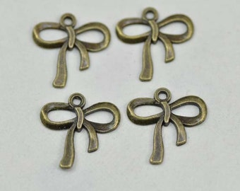 30pcs Cute Antique Brass Bow  Charms Connector 18x18mm