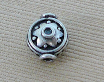 Sterling Silver Bead, Oxidized Patina Round dot star design Lentil