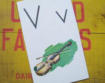 Vintage Large Flash Card - V is for Violin - Great Illustration - 1958