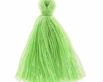 30mm lime green cotton tassel