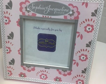 Pink and Gray Flower - Baby Girl Personalized Frame with Birthdate