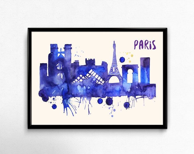 Paris Skyline Watercolor Poster - Cityscape Painting Artwork - Art Print, Multiple Sizes - 10x8 to 36x24 - Watercolor Painting Style