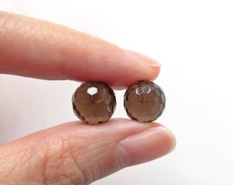 Smoky Quartz Half Top drilled Faceted 10 mm or 8 mm Disco Balls Rounds One Pair K7065 J6513