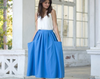 Cotton Skirt, Summer skirt, Cotton Midi skirt, Plus size skirt, Skirt with pockets, Natural skirt, Blue cotton skirt, Knee length skirt