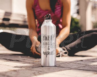 SWEAT SMILE & REPEAT - Adhesive Vinyl Decal - Water Bottle Decal - Fitness - Workout - Motivation - Inspiration